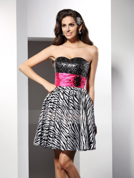 A-Line/Princess Sweetheart Chiffon Short/Mini Sleeveless Dress