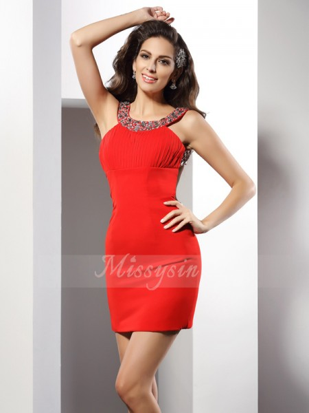 Sheath/Column Scoop Chiffon Short/Mini Beading Sleeveless Dress