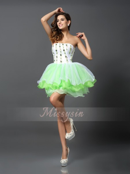 A-Line/Princess Strapless Organza Short/Mini Ruffles Sleeveless Dress
