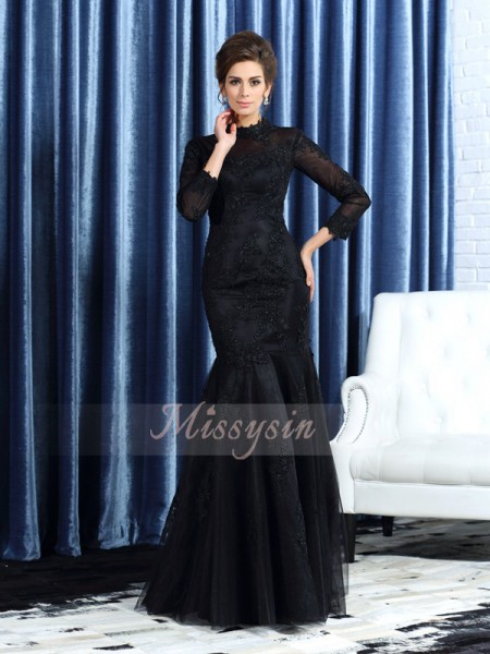 Trumpet/Mermaid High Neck Tulle Floor-Length Applique Long Sleeves Mother Of The Bride Dresses