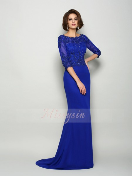Trumpet/Mermaid Scoop Chiffon Sweep/Brush Train Beading,Applique 3/4 Sleeves Mother Of The Bride Dresses