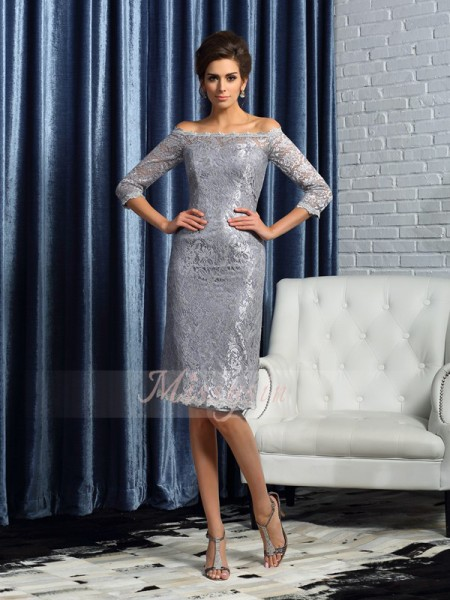 Sheath/Column Off-the-Shoulder Satin Knee-Length Lace 1/2 Sleeves Mother Of The Bride Dresses