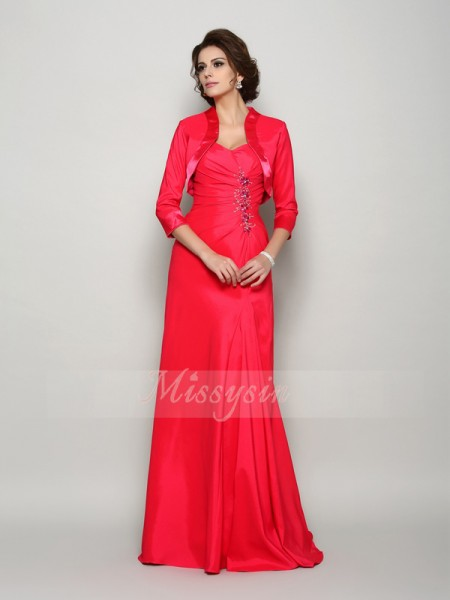 A-Line/Princess Straps Elastic Woven Satin Sweep/Brush Train Applique Sleeveless Mother Of The Bride Dresses