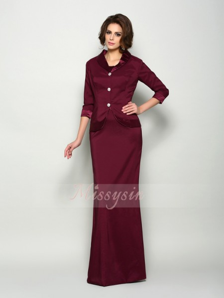 A-Line/Princess Square Elastic Woven Satin Floor-Length Sleeveless Mother Of The Bride Dresses