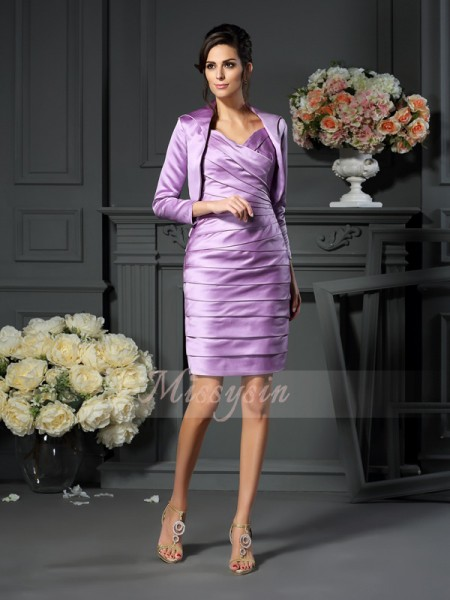 Sheath/Column Straps Satin Knee-Length Ruched Sleeveless Mother Of The Bride Dresses