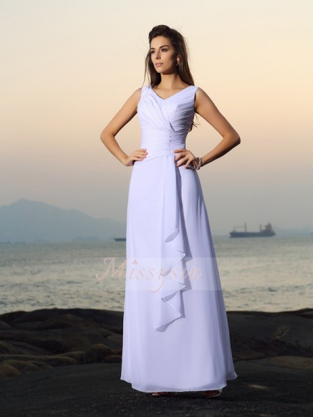 A-Line/Princess V-neck Chiffon Floor-Length Pleats,Beading Sleeveless Wedding Dress