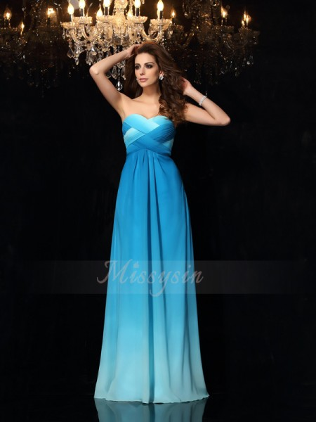 A-Line/Princess Sweetheart Chiffon Floor-Length Ruched Sleeveless Dresses