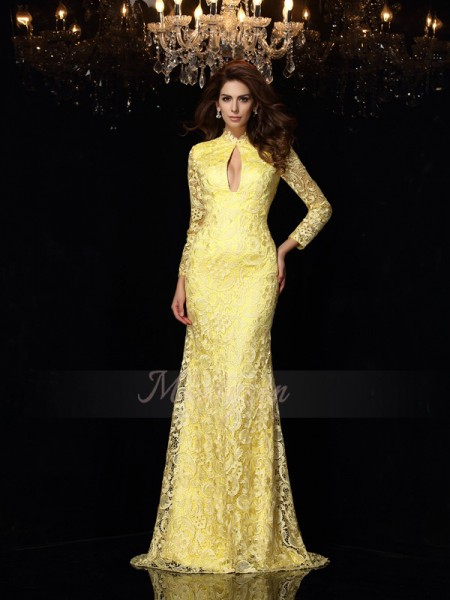 Sheath/Column High Neck Satin Sweep/Brush Train Lace Long Sleeves Dresses
