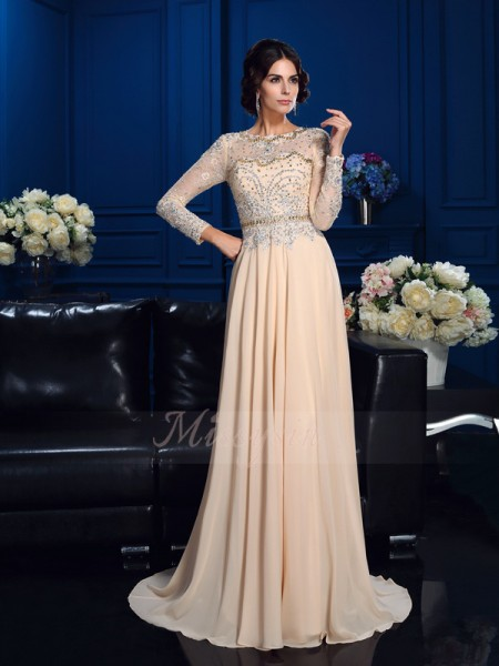 A-Line/Princess Chiffon Scoop Long Sleeves Beading Sweep/Brush Train Mother of the Bride Dresses