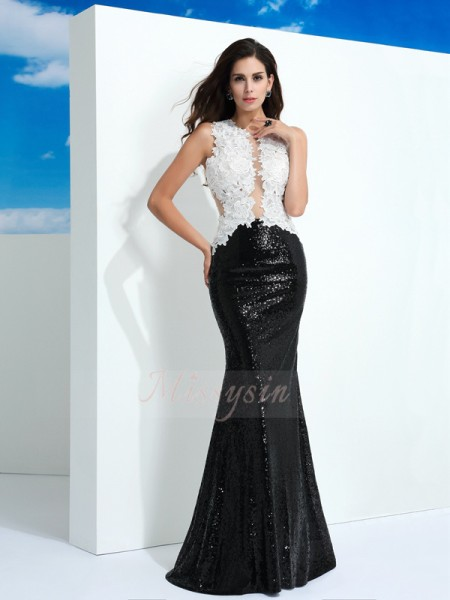Sheath/Column Lace Scoop Sleeveless Paillette Floor-Length Dresses
