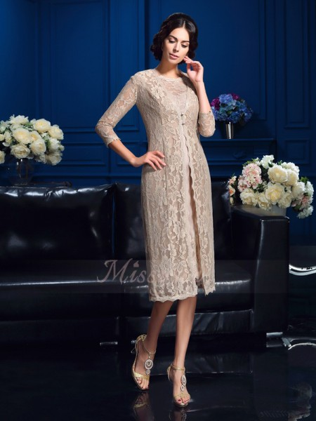 Sheath/Column Taffeta Scoop Sleeveless Knee-Length Mother of the Bride Dresses