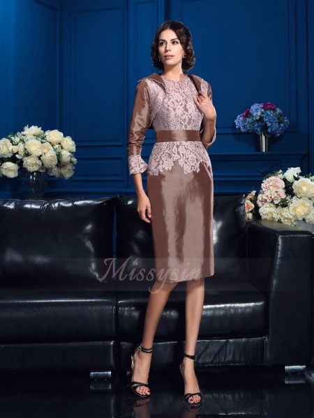 Sheath/Column Taffeta Jewel Short Sleeves Knee-Length Mother of the Bride Dresses