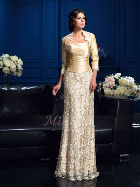 A-Line/Princess Lace Strapless Sleeveless Floor-Length Mother of the Bride Dresses
