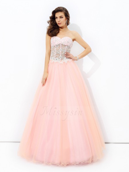 A-line/Princess Net Sweetheart Sleeveless Floor-length Dresses
