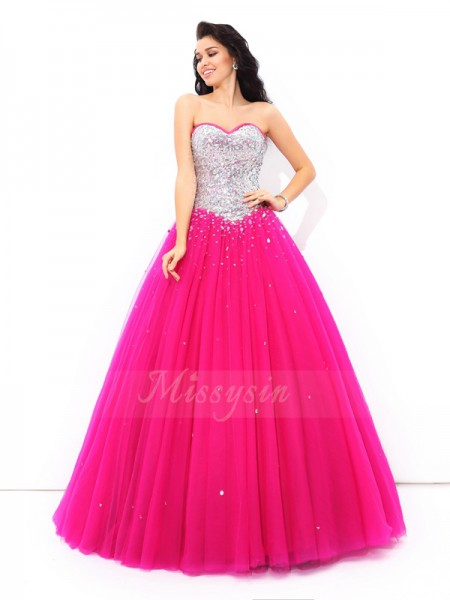 Ball Gown Satin Sweetheart Sleeveless Beading Floor-Length Quinceanera Dresses