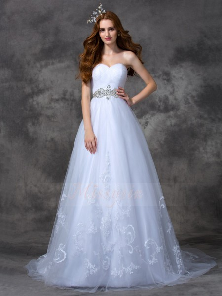 A-line/Princess Satin Sweetheart Sleeveless Beading Sweep/Brush Train Wedding Dresses