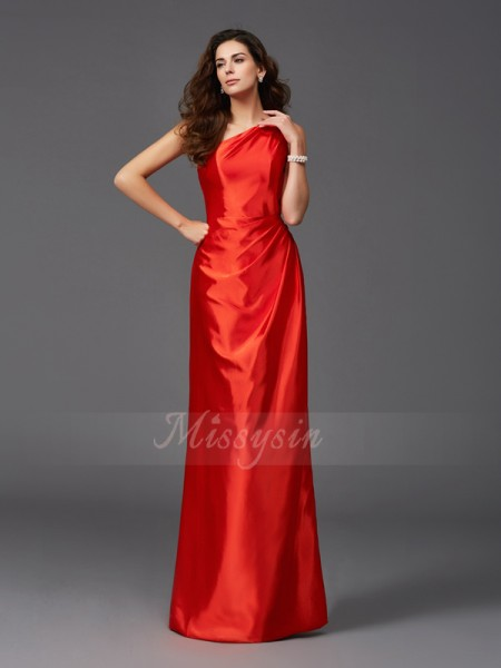 Sheath/Column Elastic Woven Satin One-Shoulder Sleeveless Floor-Length Bridesmaid Dresses
