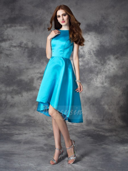 A-line/Princess Satin Bateau Sleeveless Ruffles Asymmetrical Bridesmaid Dresses