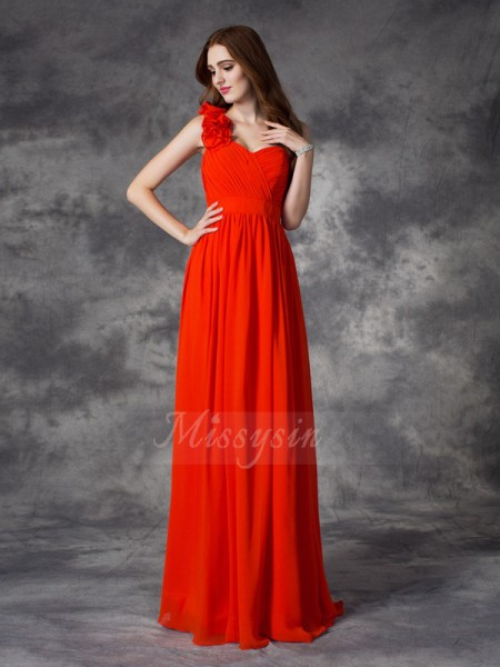 A-line/Princess Chiffon One-Shoulder Sleeveless Hand-Made Flower Floor-length Bridesmaid Dresses
