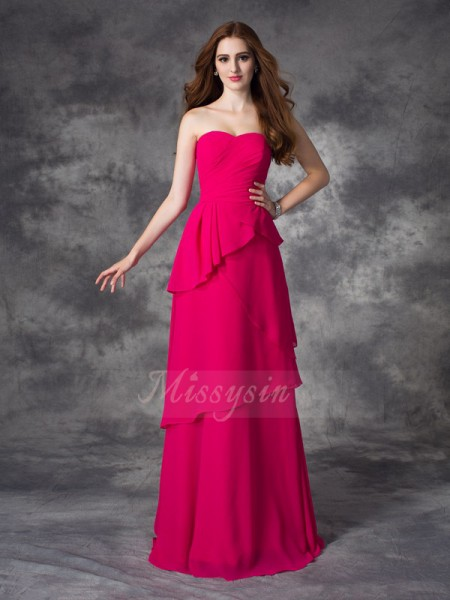A-line/Princess Chiffon Sweetheart Sleeveless Layers Floor-length Bridesmaid Dresses
