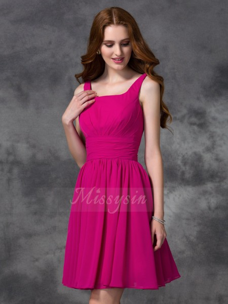 A-line/Princess Chiffon Square Sleeveless Short/Mini Bridesmaid Dresses
