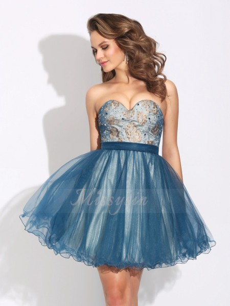 A-Line/Princess Net Sweetheart Sleeveless Ruffles Short/Mini Cocktail Dresses