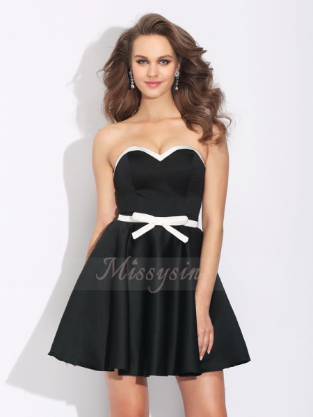 A-Line/Princess Satin Sweetheart Sleeveless Bowknot Short/Mini Cocktail Dresses