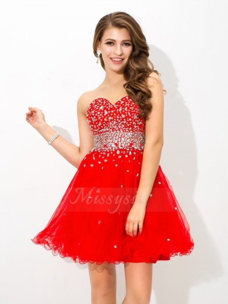 A-Line/Princess Organza Sweetheart Sleeveless Beading Short/Mini Cocktail Dresses