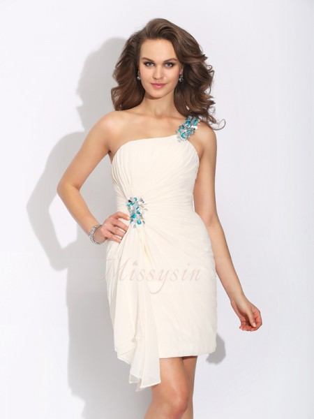 Sheath/Column Chiffon One-Shoulder Sleeveless Beading Short/Mini Cocktail Dresses