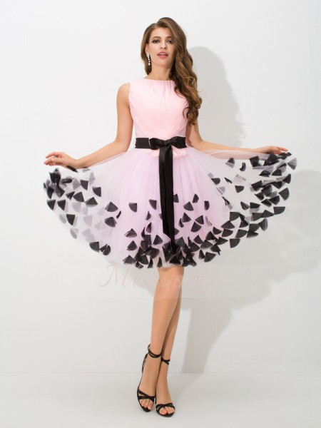 A-Line/Princess Net High Neck Sleeveless Bowknot Short/Mini Cocktail Dresses