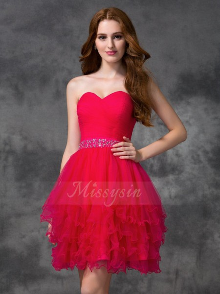 A-line/Princess Satin Sweetheart Sleeveless Beading Short/Mini Cocktail Dresses