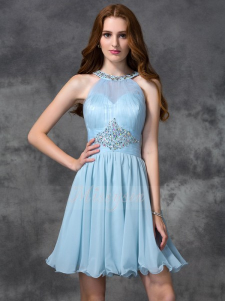 A-line/Princess Chiffon Scoop Sleeveless Beading Short/Mini Cocktail Dresses