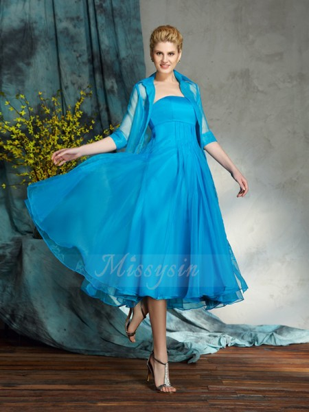 A-Line/Princess Organza Strapless Sleeveless Applique Knee-Length Mother of the Bride Dresses
