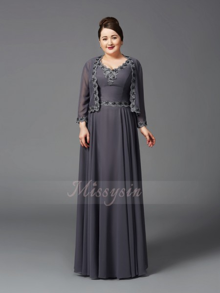 A-Line/Princess Chiffon Straps Sleeveless Floor-Length Mother of the Bride Dresses