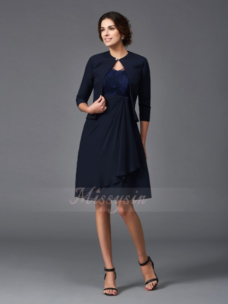 A-Line/Princess Chiffon V-neck 1/2 Sleeves Knee-Length Mother of the Bride Dresses