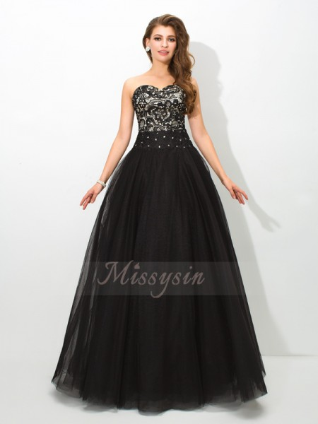 Ball Gown Net Sweetheart Sleeveless Floor-Length Dresses