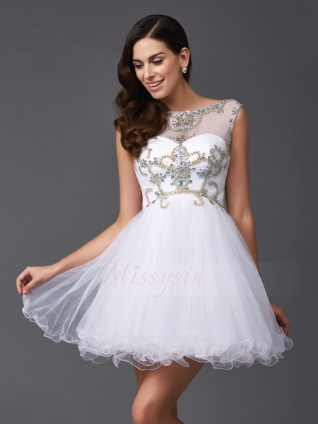 A-Line/Princess Net Scoop Sleeveless Beading Short/Mini Dresses