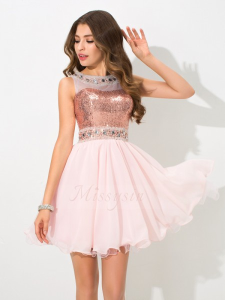 A-Line/Princess Chiffon Sheer Neck Sleeveless Sequin Short/Mini Cocktail Dresses