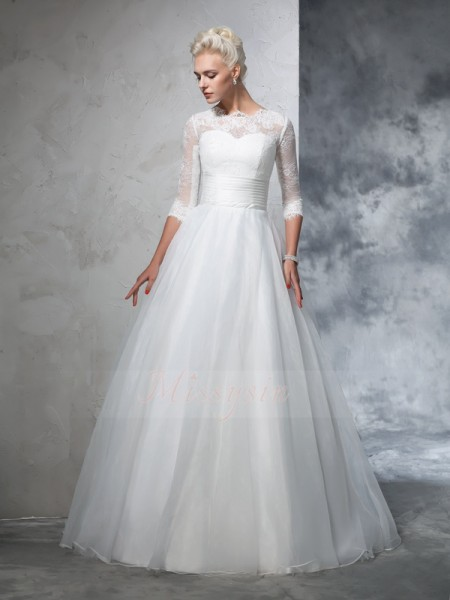 Ball Gown Organza Jewel 3/4 Sleeves Applique Floor-Length Wedding Dresses