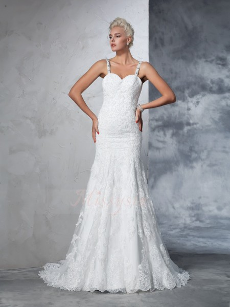 Trumpet/Mermaid Lace Spaghetti Straps Sleeveless Chapel Train Wedding Dresses