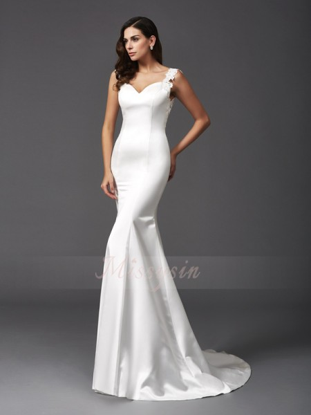 Trumpet/Mermaid Satin Straps Sleeveless Beading Sweep/Brush Train Wedding Dresses