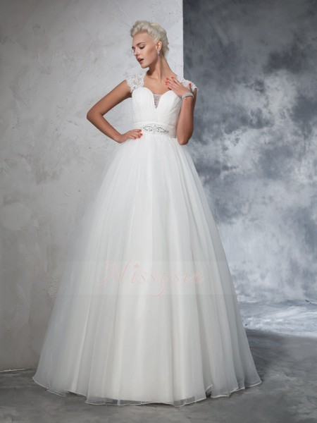 Ball Gown Tulle Sweetheart Sleeveless Ruched Sweep/Brush Train Wedding Dresses