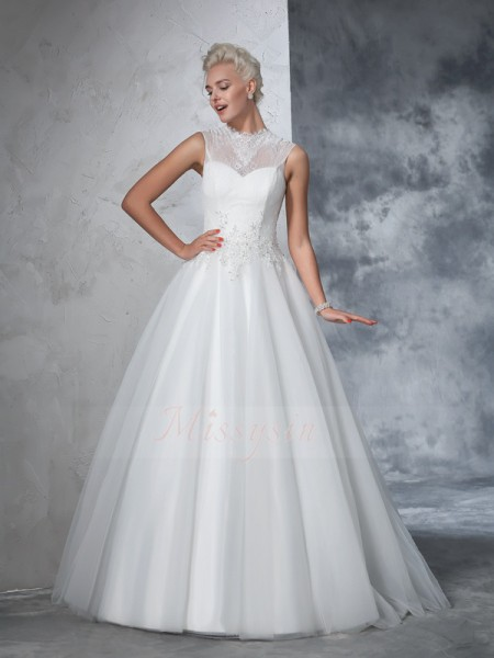Ball Gown Net High Neck Sleeveless Applique Floor-Length Wedding Dresses