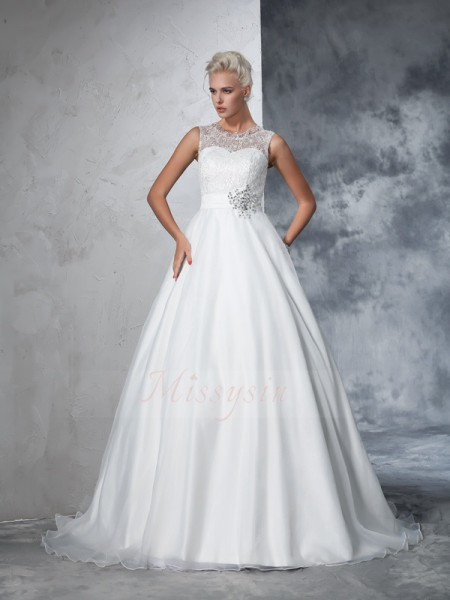 Ball Gown Net Sheer Neck Sleeveless Chapel Train Wedding Dresses