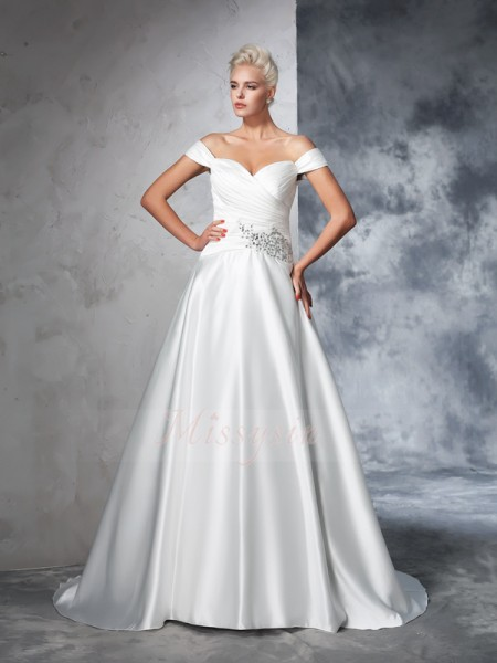 Ball Gown Taffeta Off-the-Shoulder Sleeveless Ruched Chapel Train Wedding Dresses