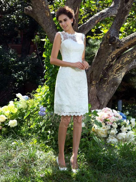 A-Line/Princess Satin Sheer Neck Sleeveless Applique Knee-Length Wedding Dresses