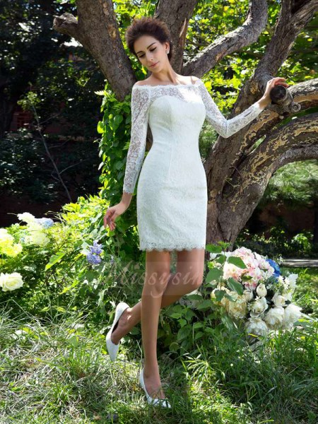 Sheath/Column Satin Scoop Long Sleeves Short/Mini Wedding Dresses