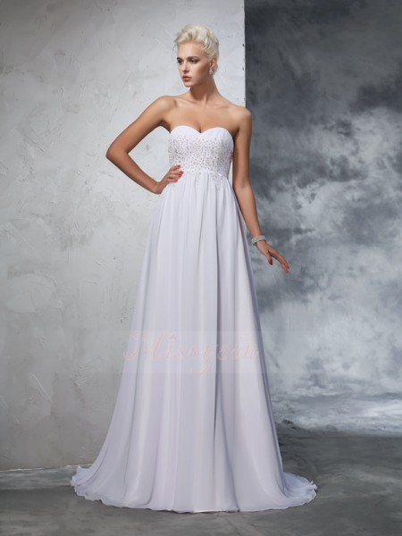 A-Line/Princess Chiffon Sweetheart Sleeveless Beading Sweep/Brush Train Wedding Dresses