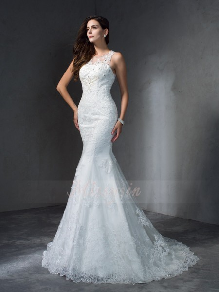 Trumpet/Mermaid Lace Scoop Sleeveless Applique Court Train Wedding Dresses
