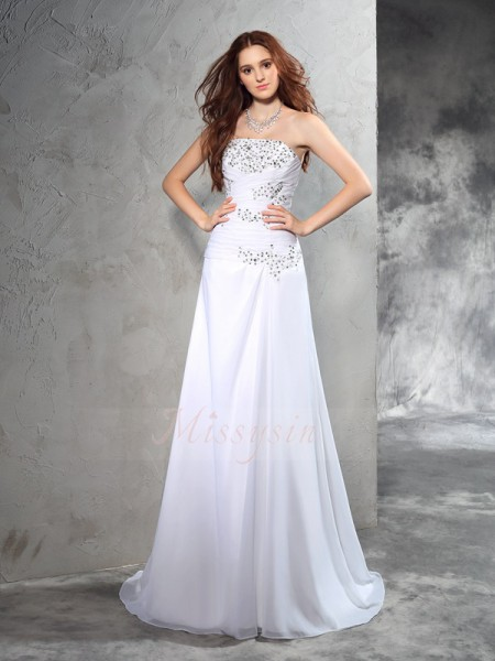 Sheath/Column Chiffon Strapless Sleeveless Beading Sweep/Brush Train Wedding Dresses